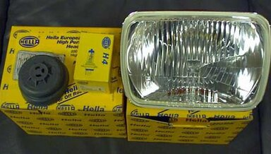 126 and 201Hella H4 Square Headlights