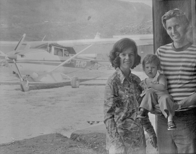 Kent, Linda and Kaia in the highlands of New Guinea in 1977