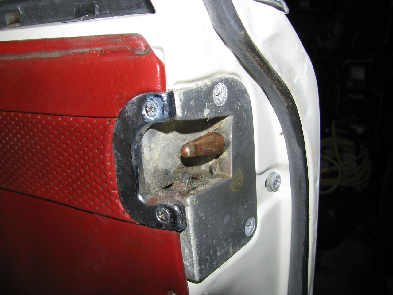 car door latch striker. Look At The Corrosion On Centering Pin And Door Striker In Pictures Below. They Were Literally Rusted Together. It Took A Heavy Shoulder Bump From Car Latch 0