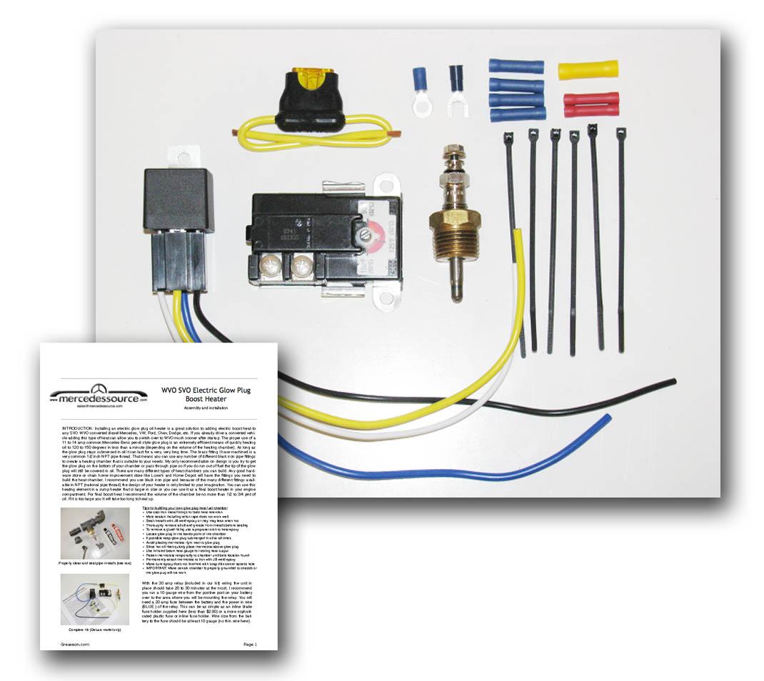 Svo Wvo Electric Glow Plug Fuel Heater Standard Installation Kit Wiring Up Plugs Mercedessource Kits Product