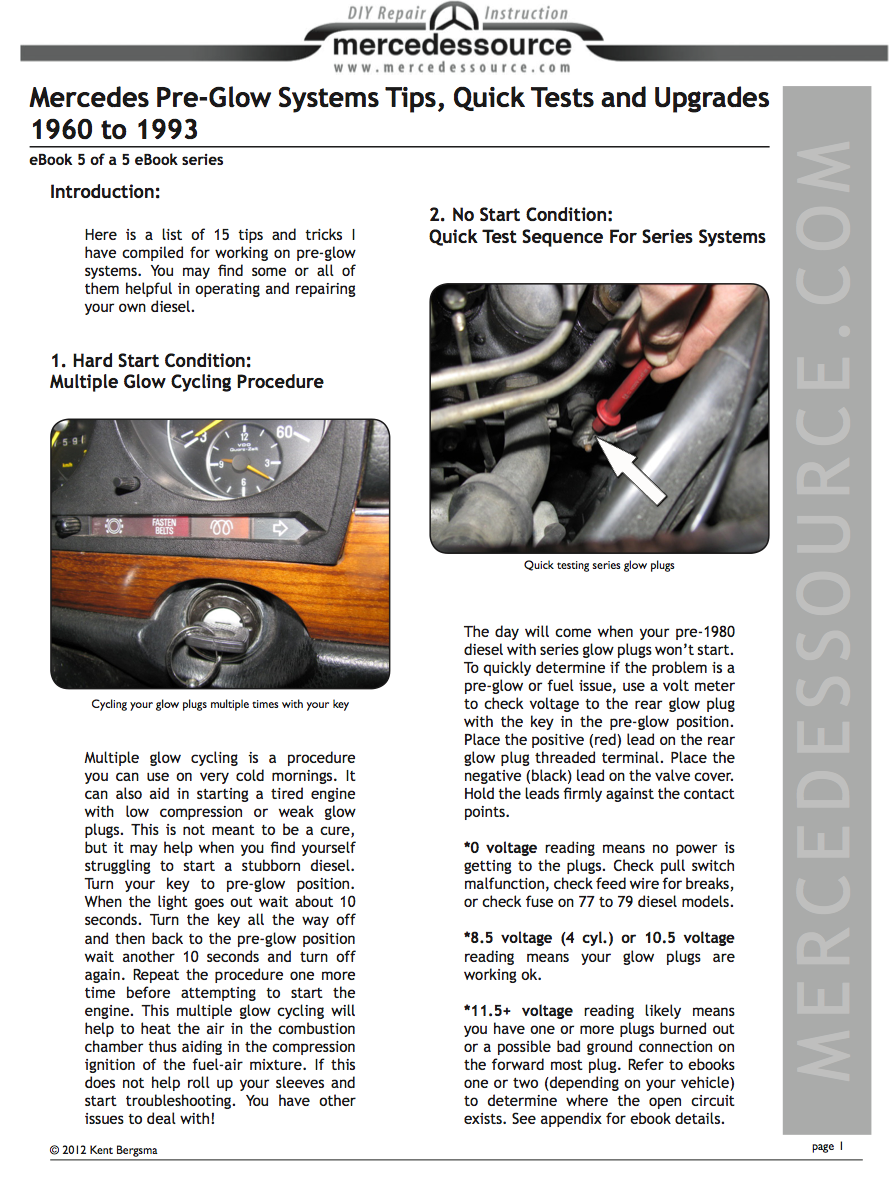 Pre-Glow Systems Tips, Quick Tests and Upgrades - All Diesels 1960