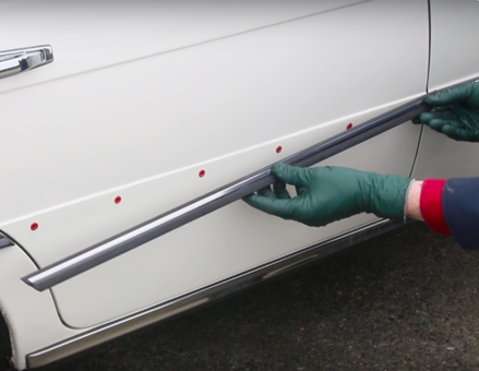 ... side trim strips or those soft hard board type door panels with the straight \ push in\  white clips. ( The W116 door panel does not use \ push in\  clips. & What is The Best Way to Remove Chrome Side Body Trim Strips on Older ...