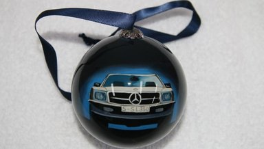Search w123 for Mercedes benz christmas ornament